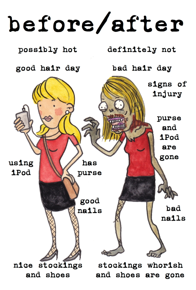female zombie before after