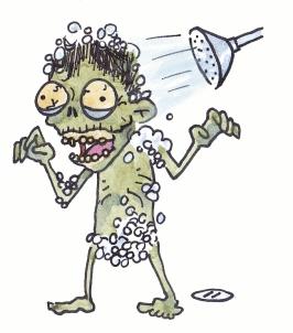 zombie in shower